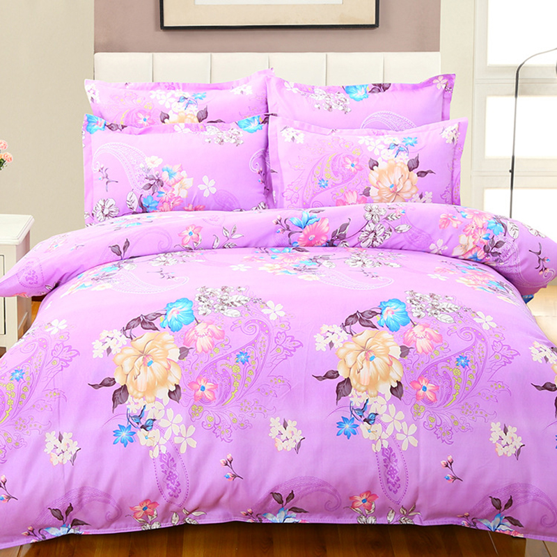 Classic Floral Aole Cotton Soft Comfortable Bedding Set 4pcs King Queen Double Size Duvet Cover 1.8m 2m 2.3m Bed Sheet Bedlinens