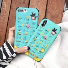 Cartoon Dragon Ball Wukong Calendar phone cases For iphone XS MAX XR X 6 6s 7 8plus Cute Liquid TPU Silicone Case Back Cover