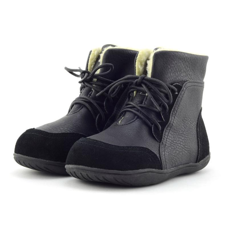 Botas de nieve de tobillo de retazos para niños botas de encaje de tela de algodón para niñas botas cálidas de punta redonda para niños AA51212 - 4
