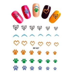 Image 3 - 네일 아트 뷰티 워터 데칼 슬라이더 네일 스티커 동물 애완 동물 발톱 발 발 프린트 스위트 하트 블랙 고양이 RP025 030
