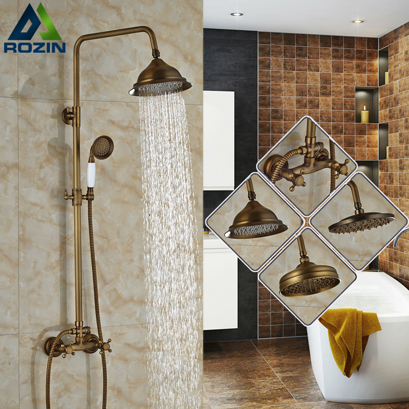 Antique Rain Outdoor Bathroom Shower Faucet set with hand shower Brass In Wall Shower Mixer Dual Handle Hand Shower wall mount single handle bath shower faucet with handshower antique brass bathroom shower mixer tap