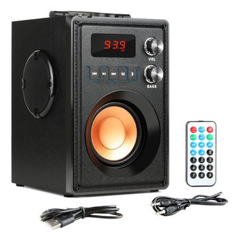 GTIPPOR Big Power 20W Portable Bluetooth Speaker Heavy Bass Wireless Speakers Subwoofer Support Remote Control FM MIC TF AUX USB