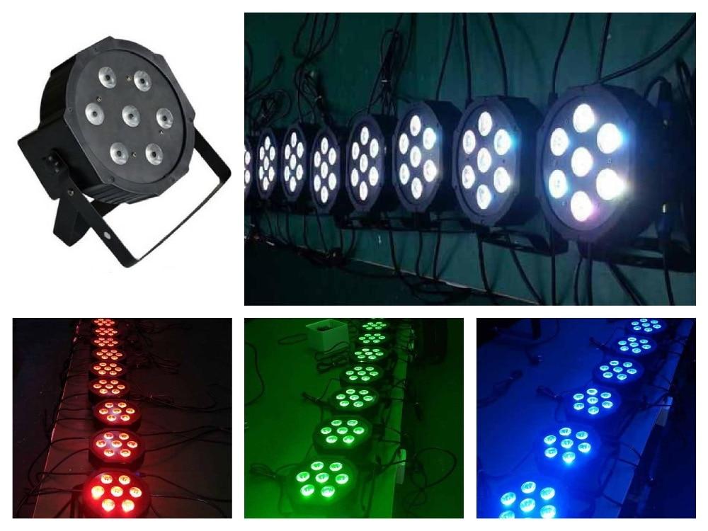 10pcs/Lot, ADJ LED par Light 7x3W RGB 3in1 triple Flat Par38 IEC Can Slim mini american DJ Stage Lights Disco Club Bar DMX