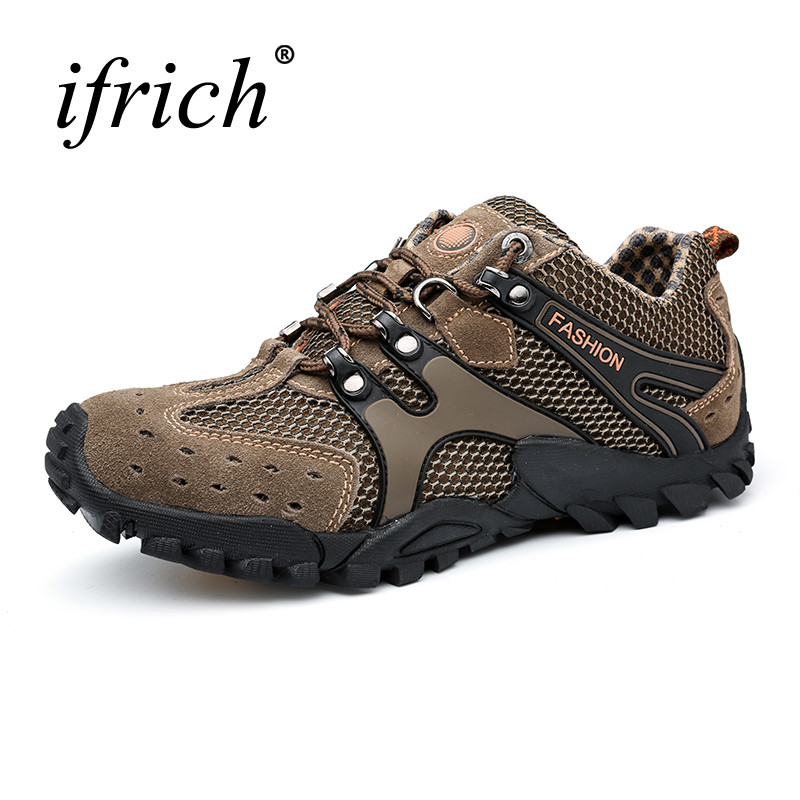 Ifrich 2017 Men Hiking Shoes Sneakers Rubber Mountain Shoes Climbing Men Leather Summer Outdoor Trekking Shoes Men Hiking Boots humtto new hiking shoes men outdoor mountain climbing trekking shoes fur strong grip rubber sole male sneakers plus size