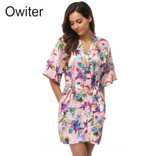 Owiter Women Short floral Robe Dressing Gown Bridal Wedding Bride Bridesmaid Kimono 012