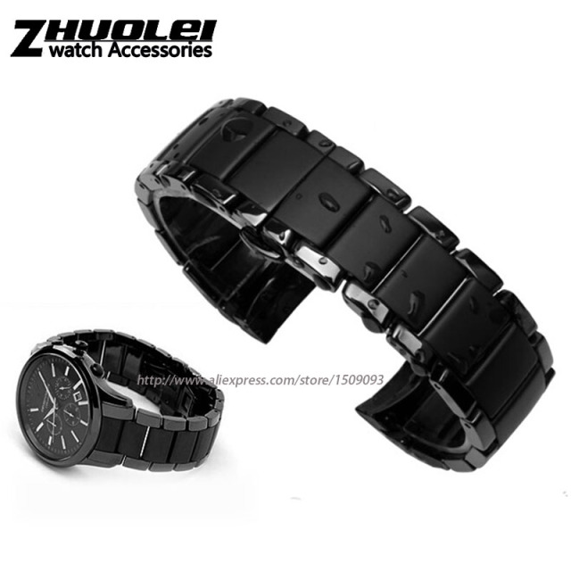 New arrivals curved end ceramic bracelet for men for AR1451|AR1452 watchband 24mm black with gray  waterproof watch strap