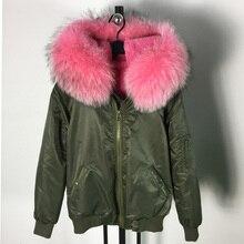 high quality waterproof shell zipper outwear raccoon fur collar hooded coat pink fur bomber jacket