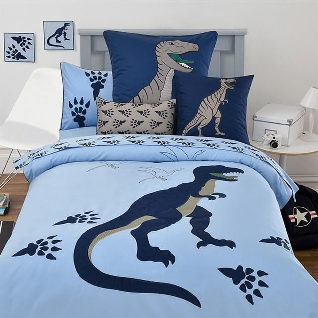 4eb3dc4120 100% crianças de algodão dos desenhos animados bordado dinossauro azul 3 4  pcs conjunto