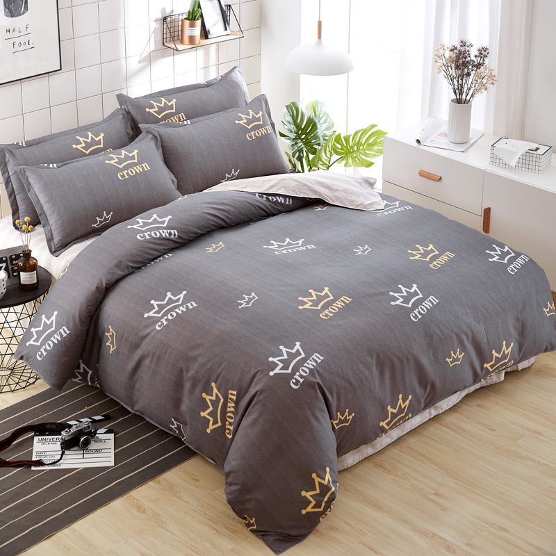 new design luxury brown crown printing bedding set twin full queen king size adults bedclothes. Black Bedroom Furniture Sets. Home Design Ideas