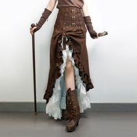Предпродажа: Стимпанк Викторианский гофрированный длинная юбка женская винтажная юбка с высокой талией