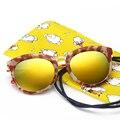 Rodada Polarizados Crianças Meninos Meninas Óculos de sol UV400 óculos de Sol Retro Óculos Bebê Óculos Oculos Infantil de Grãos de Mármore