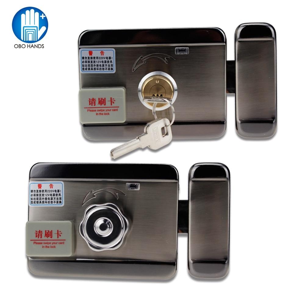 RFID contrôle électrique serrure de porte en métal sécurité muet serrure électronique pour 12 V DC système de contrôle d'accès avec télécommande et clé