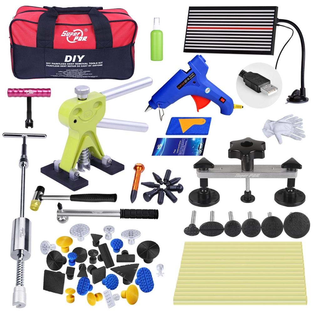Super PDR Tools Kit For Car Paintless Dent Repair Tool Auto LED Reflector dent Lifter Puller Bridge Glue Rods Dent Hand Tool Set pdr rods kit with slider hammer dent lifter bridge puller set led line board glue stricks pro pulling tabs kit for pop a dent