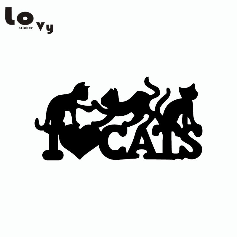 Download Creative I Love Cats Wall Sticker Funny Cartoon Animal ...
