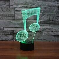 Music Note 3D Illusion LED Night Lamp Desk Lamp 3D Optical Illusion Visualization LED Night Lights