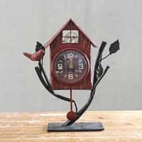 TUDA Free Shipping 7 Inch Exquisite House Modelling Desk Clock Home Bedroom Desktop Ornaments Table Clock Vintage Design Clock