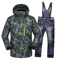High quality skiing men's jacket + trousers thicken snow suit Warm ski suit men's winter clothing set for men outdoor