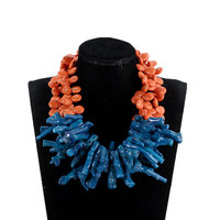 Gorgeous Orange and Teal Blue Baroque Coral Necklace Fashion African Wedding Beads Party Necklace Bridal Jewelry 2018 PJW194