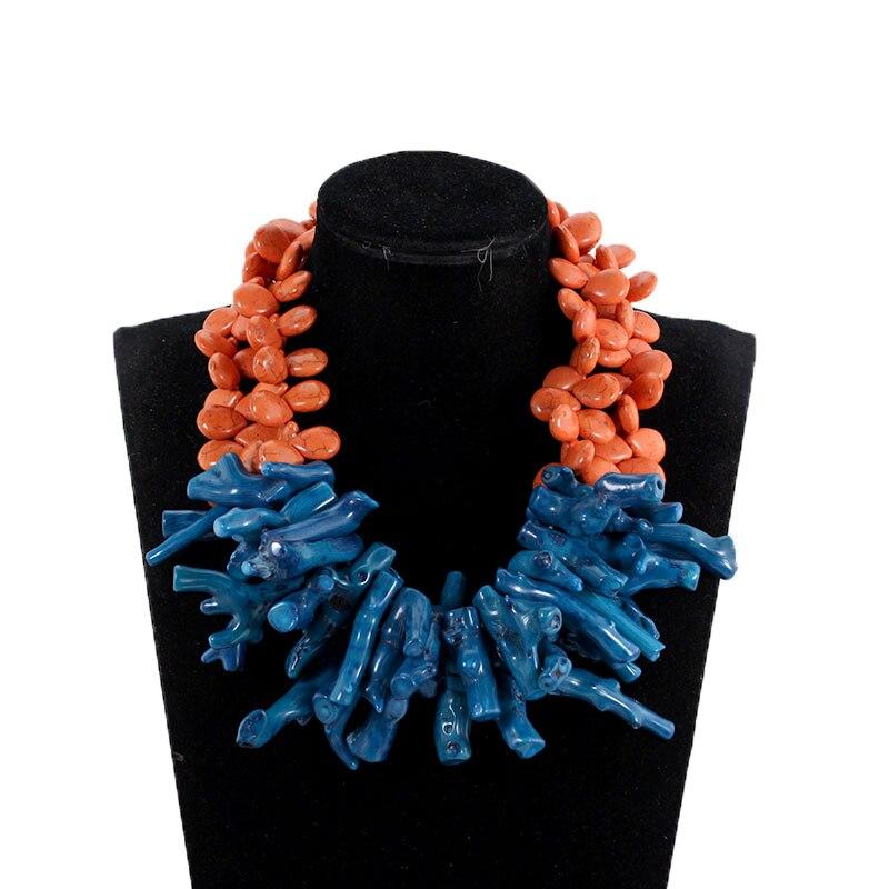 Magnifique collier de corail Baroque Orange et bleu sarcelle mode perles de mariage africain collier de fête bijoux de mariée 2018 PJW194