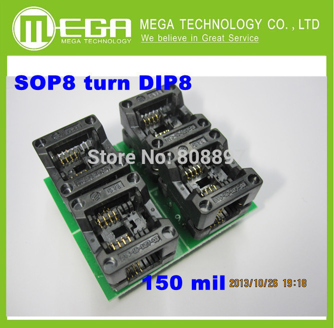 Free  Shipping 10PCS /LOT New SOP8  turn DIP8    SOIC8 to DIP8   IC socket Programmer adapter Socket 150Mil
