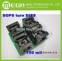 O Envio gratuito de 10 PÇS/LOTE Novo SOP8 transformar DIP8 SOIC8 para DIP8 IC adaptador Programador tomada Soquete 150Mil