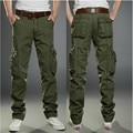 Buena Calidad de Los Hombres Trajes Pantalones Fat Tamaño Grande Multi Bolsillos Al Aire Libre Verde Del Ejército Negro de Color Caqui de Algodón Hombres Pantalones Largos De Carga