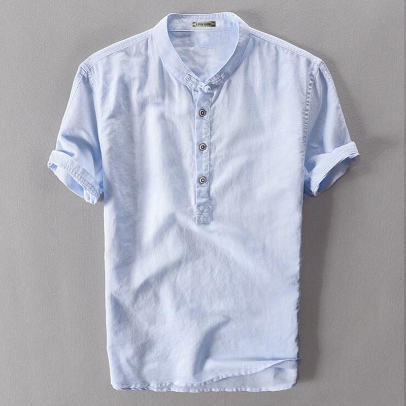 Chemise Manches Hommes Ciel Chinois Pour Traditionnel En Chanvre Courtes blanc Mâle D'été pu Blanc Bleu gris Lin vert Col Marine Ciel Bleu À Gris wzq66A