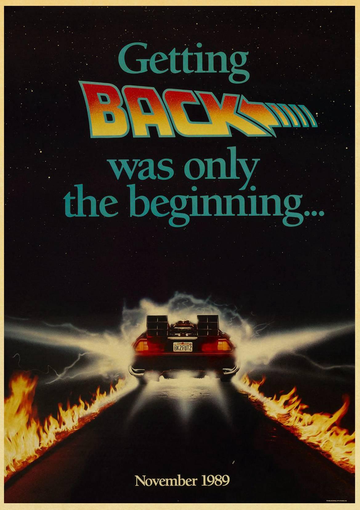 HTB1EVUVlnlYBeNjSszcq6zwhFXaS Sci-fi Back to The Future Film Propaganda Retro Kraft Poster Decorative DIY Wall Canvas Sticker Home Bar Art Posters Decor