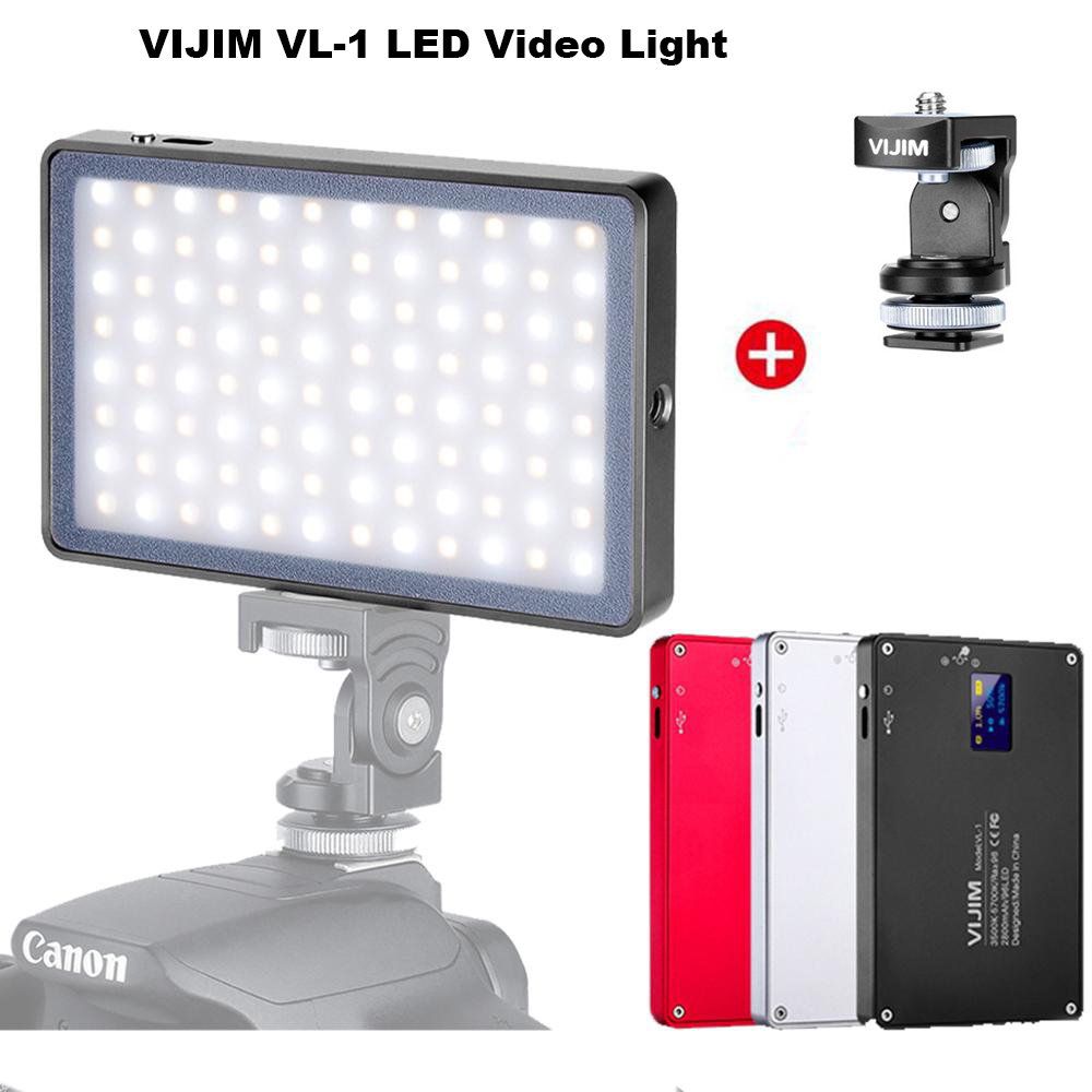 Dimmable LED Video Light 96 Pcs OLED Display With Battery On Camera DSLR Photography Lighting Fill Light