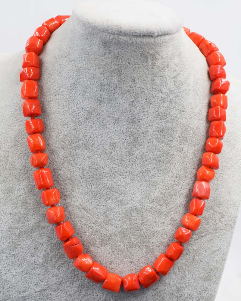 orange coral baroque pillar 10-12mm necklace 18inch nature beads wholesale discounts FPPJ 16-20mm