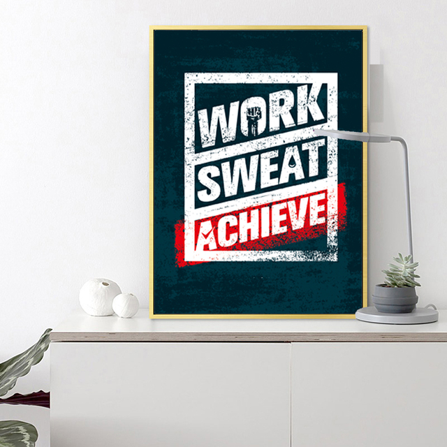 Inspirational Wall Art Poster Work Sweat Achieve Gift For Children Birthday