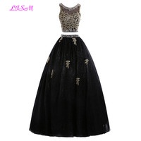 Real Photo Black Two Pieces Ball Gown Quinceanera Dress 2019 Gold Appliques Prom Dress Fashion Long Tulle Crystal Robe de soiree