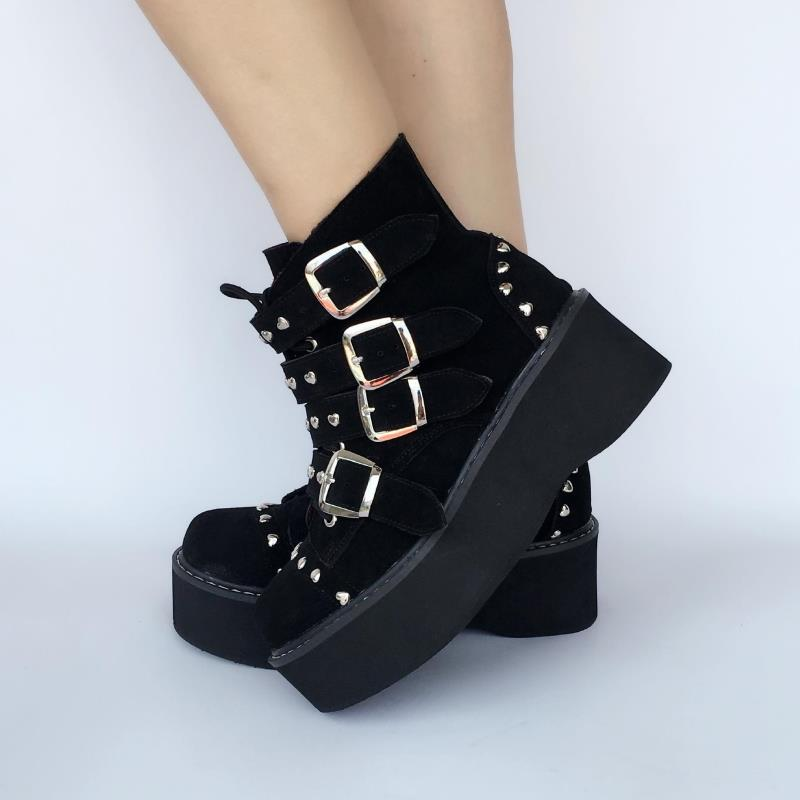 Princesa Gruesa Zapatos Dulce Punk Remaches Negro Hecho Amor Puro A Escalada Mano Mujeres Suela Bizcocho Senderismo An7543 Casual FxFpHwq