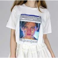 Nuove Donne Ulzzang Bianco Tshirt Tee Top Stampato Leonardo di Caprio Leo Titanik Piangere Harajuku T Shirt