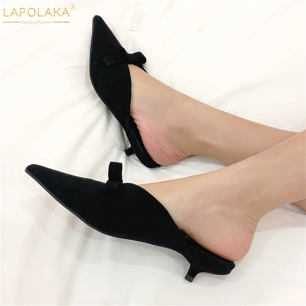 Lapolaka Fashion Kid Suede Leather Sexy Shoes Woman Pumps Female Pointed Toe Bowtie Pumps Mules Shoes 2019 WomanLapolaka Fashion Kid Suede Leather Sexy Shoes Woman Pumps Female Pointed Toe Bowtie Pumps Mules Shoes 2019 Woman