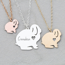 лучшая цена Bunny Necklace Rabbit Gift Women Jewelry Gift For Girl Custom Any Words Aliexpress Top-selling Accept Drop Shipping YP6056