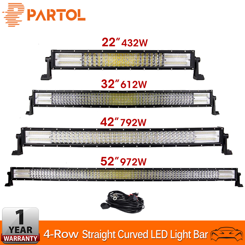 Partol 4 Row LED Light Bar 22 32 42 52 Straight Curved Offroad LED Work Light Bar For 4x4 4WD Truck Trailer SUV ATV UTV 12v
