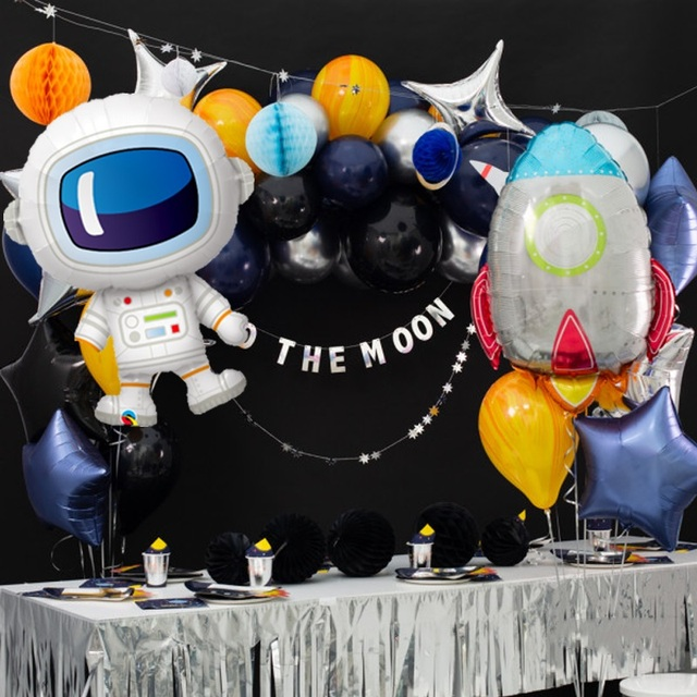 Outer Space Party Astronaut Rocket Ship Foil Balloons Galaxy/Solar System Theme Party Boy Kids Birthday Party Decoration Favors 5