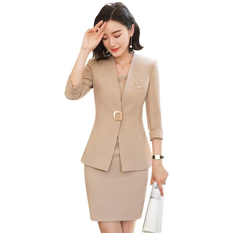 2018 Ol Office Lady Women Business Single Dress Work Uniform Temperament Sleeve Blazer + Dress Suits Quality Formal Dress