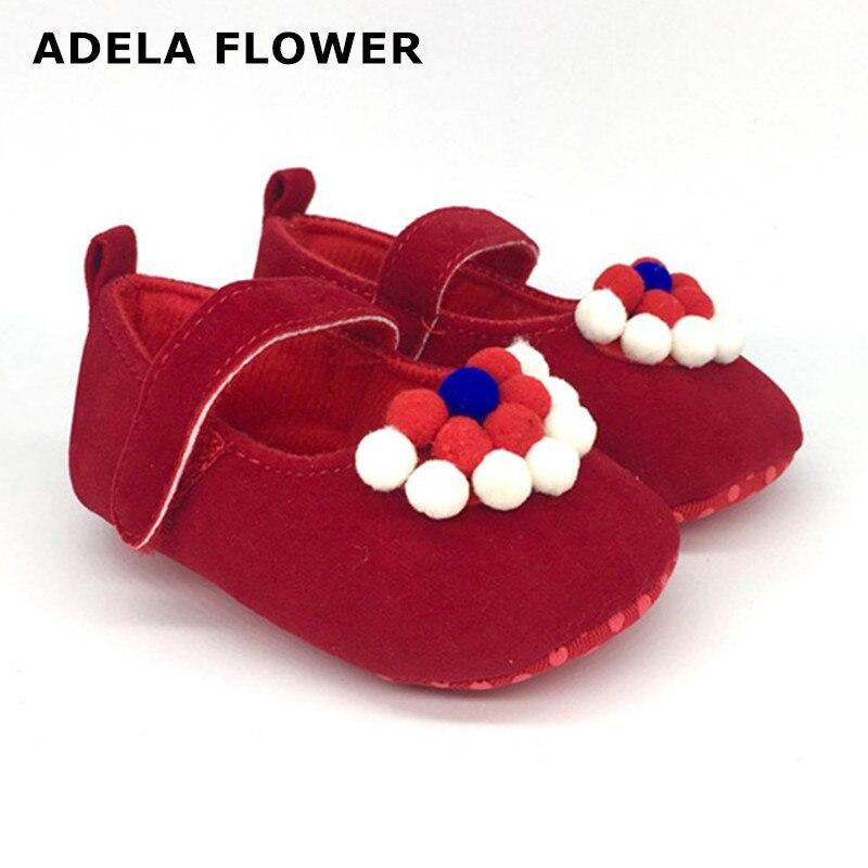 Adela Flower New Design Baby Girl Shoes Cute Blueredwhite Fur Ball