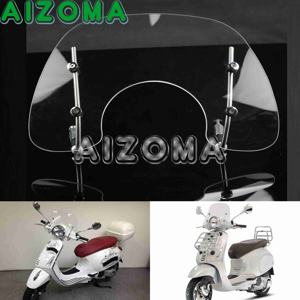 Tinted Flyscreen Windscreen Wind Deflector Motorcycle Clear Windshield Protection For VESPA PRIMAVERA 150 FLYSCREEN 49 45cm for 125cc 150cc motorcycle windscreen deflector wind deflector wind shield windscherm scooter free shipping