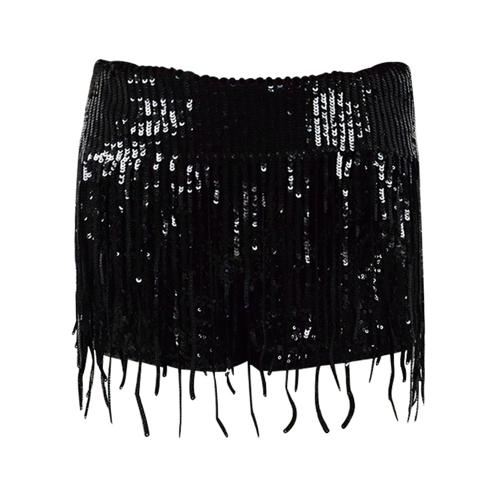 Women Perfomance Black Sequin Shorts Stage Cosplay Tassels Shorts Pants For Show Cosdaddy