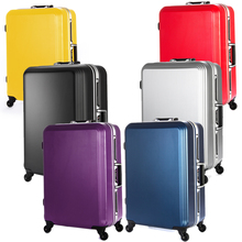 Fochier 20 24 28 inches 6 colors ABS luggage TSA lock Hardside Travel Luggage Suitcase Rolling Spinner 4 Wheels aluminium sash