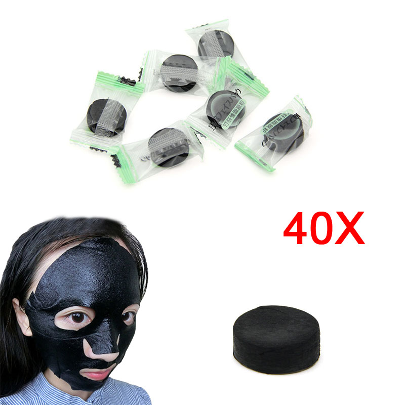 40pcs Diy Bamboo Charcoal Fiber Facial Mask Skin Care Oil-Control Clean The Face Whole Face Black Facial Cotton Mask HJL