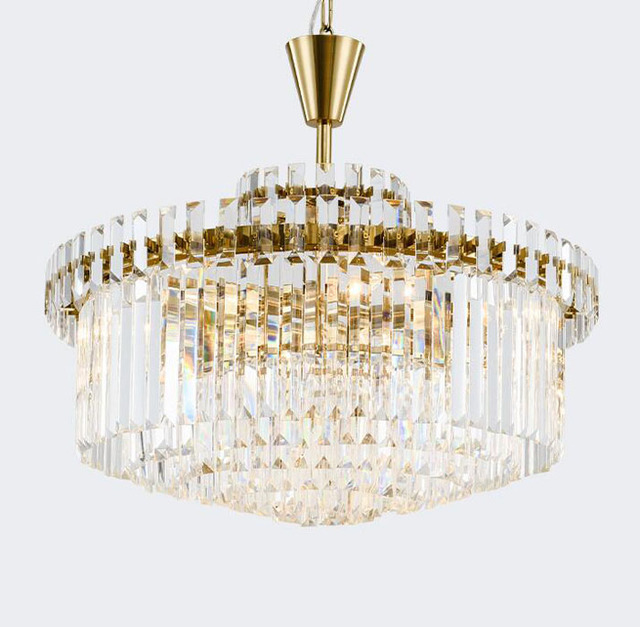T Retro American Gold Crystal Pendant Light Iron For Dining Room Restaurant Bedroom Study Living