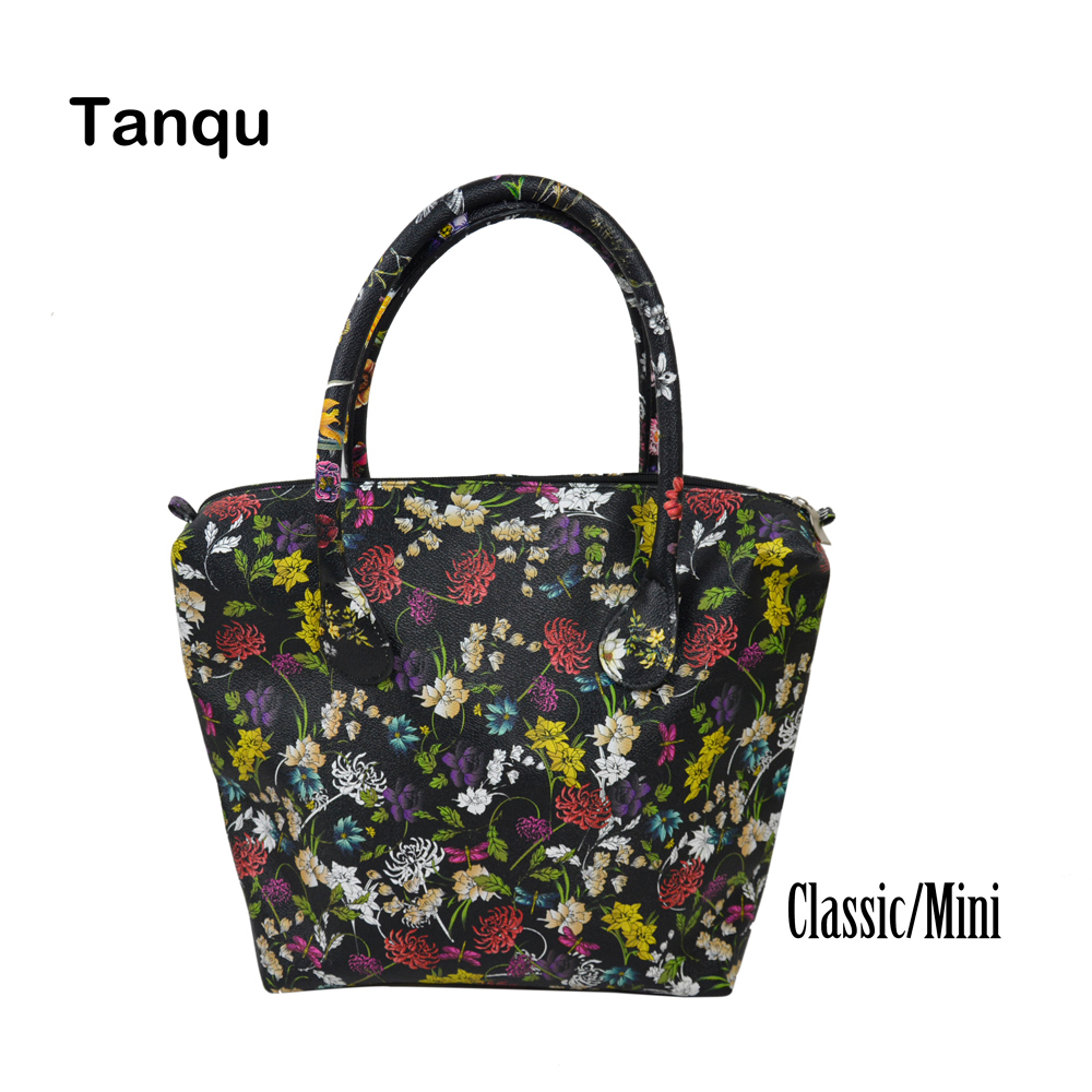 2018 TANQU Waterproof Faux PU Leather Floral Insert Inner Pocket Plus Handle for Classic Mini Obag O Bag Women Handbag tanqu new mini floral print pu leather lining waterproof insert zipper inner pocket for mini obag eva o bag women handbag