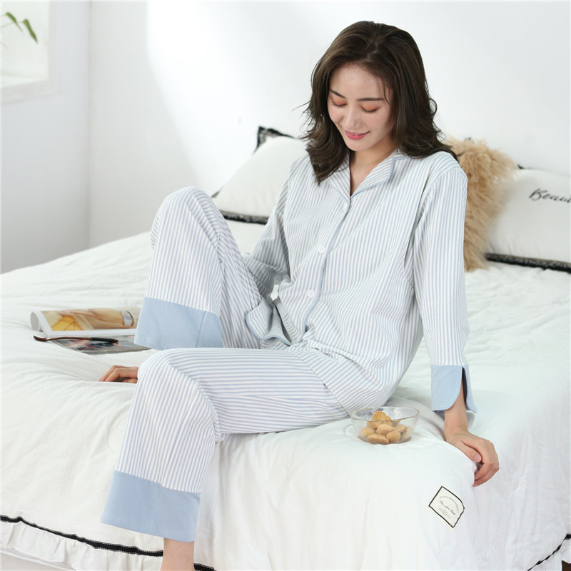 Blue white striped maternity set clothes cotton turn-down collar women nursing pyjama hospital gown pregnant women setsBlue white striped maternity set clothes cotton turn-down collar women nursing pyjama hospital gown pregnant women sets