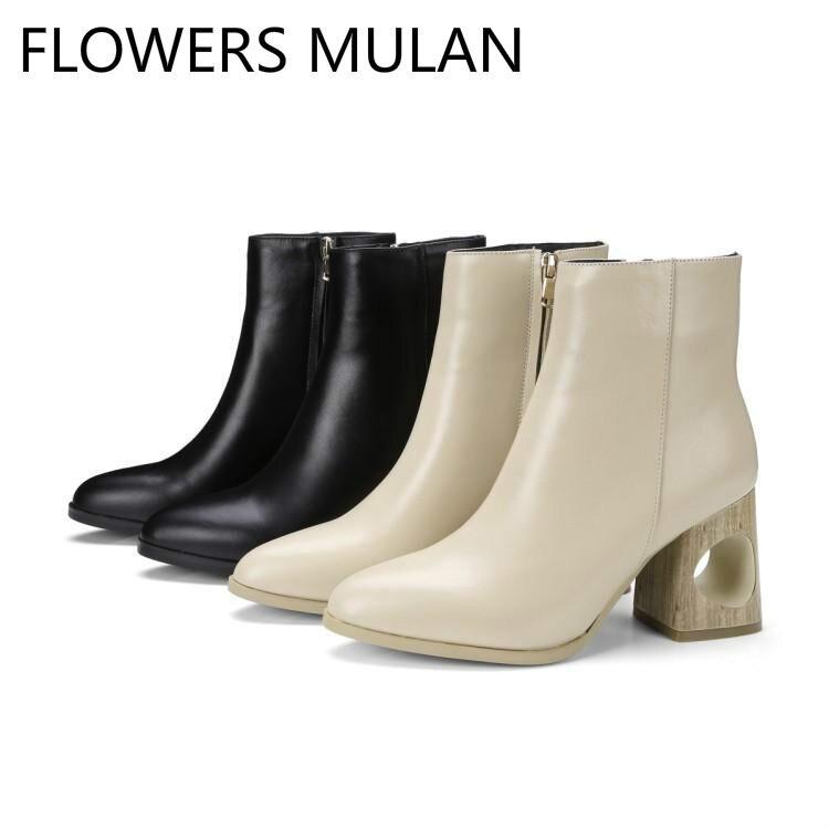 48f33288986d6 Femme Haut Mujer Chaussures Bout Ajouré Zip Femmes Blanc blanc Noir Cuir  Côté En Rond Zapatos Talons De Cheville Bottes ...