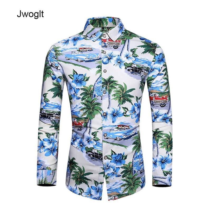 Autumn Mens Hawaiian Shirt Long Sleeve Floral Shirts Men Casual Beach Holiday Vacation Blouse 5XL 6XL 7XL
