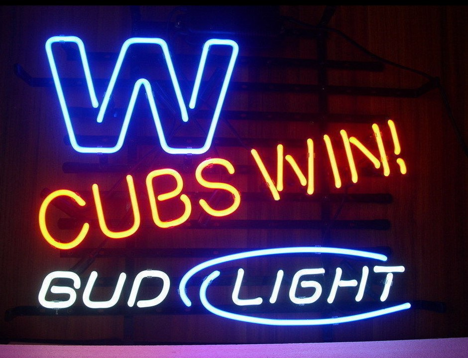 Custom Bud Light Chicago Cubs Gl Neon Sign Beer Bar